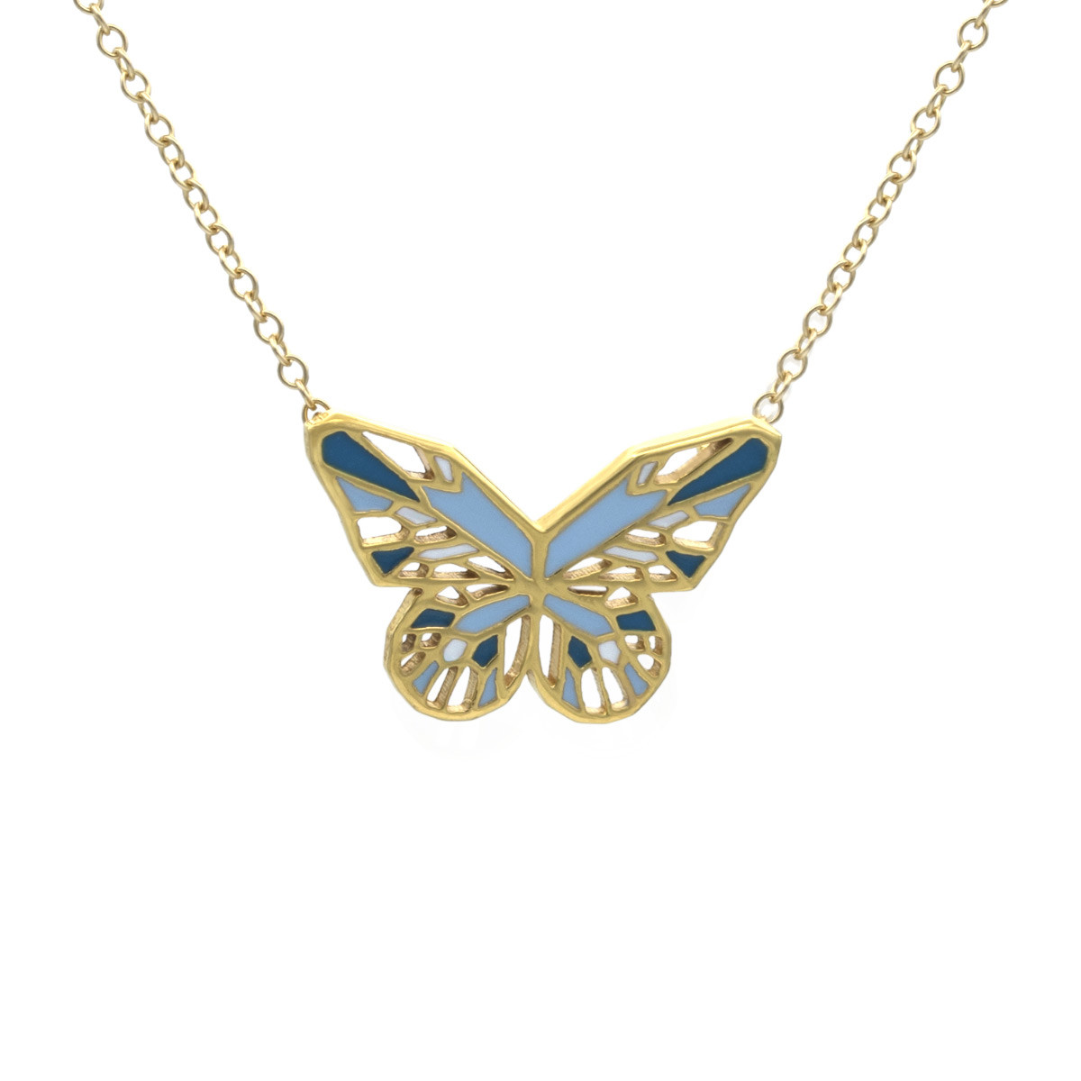 Black Wisdom Pendant Set with Gold Butterfly