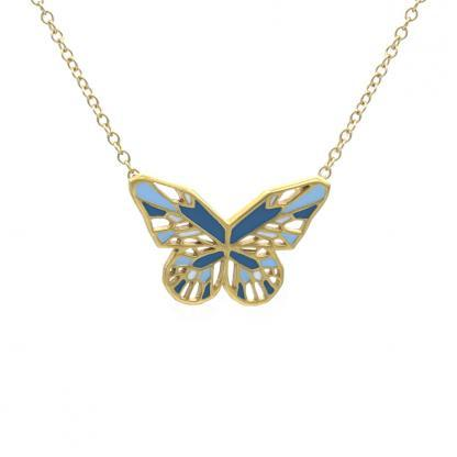 Blue Butterfly necklace in Gold Turquoise and Pastel blue