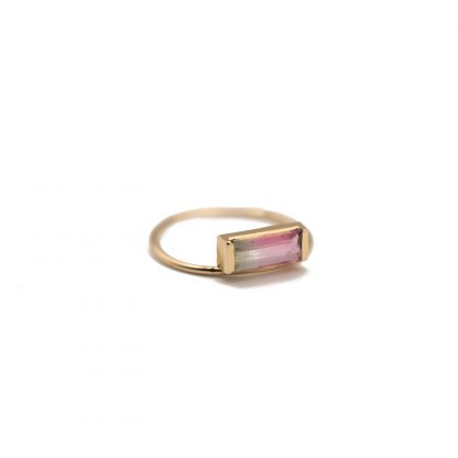 watermelon tourmaline ring set in 14k gold
