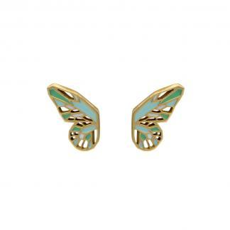 butterfly wings studs gold with mint green and grass green enamel