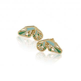 pair of butterfly wings studs in gold with mint enamel