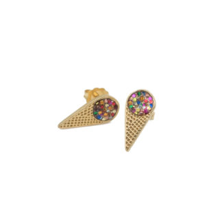 ice cream gold studs with multiglitter enamel
