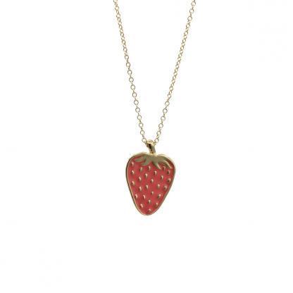 gold coral mini strawberry necklace