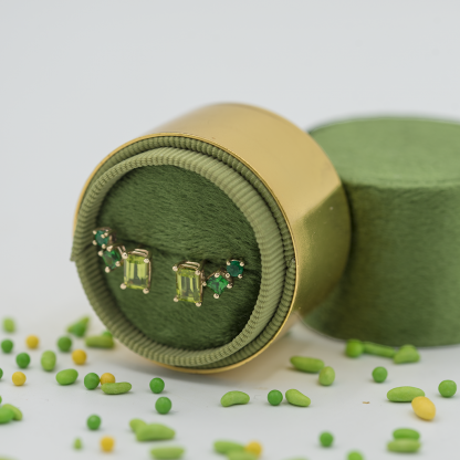 emerald peridot tsavorite gradient crescent stud