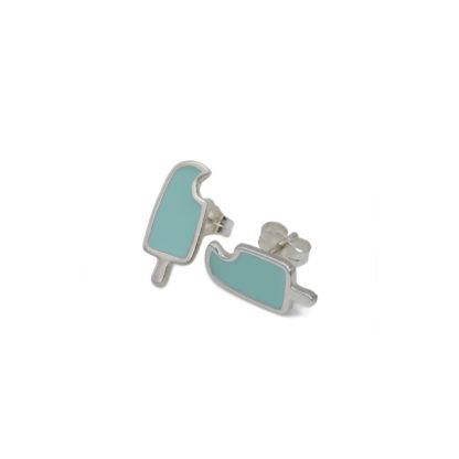 popsicle earrings in sterling silver with mint green enamel