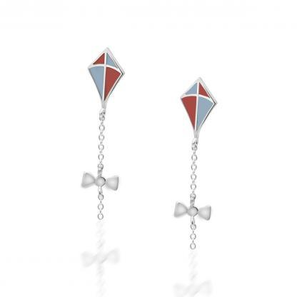 Kite post earrings silver coral and pastel blue enamel
