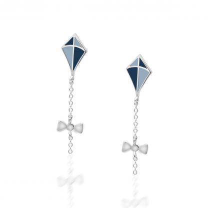 Silver kite earrings pastel blue and navy
