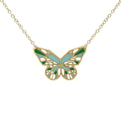 Butterfly-Necklace-Gold-Mint-and-Grass-green