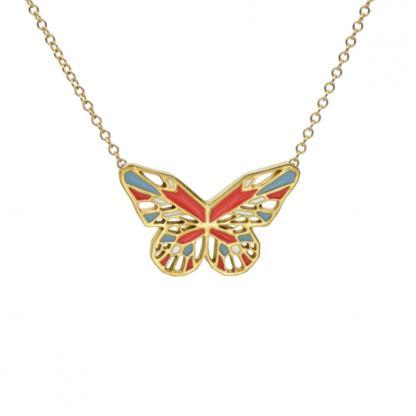 Butterfly necklace gold coral pastel blue