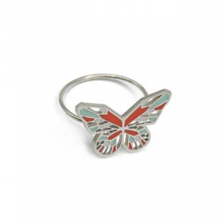 silver butterfly ring in coral and mint