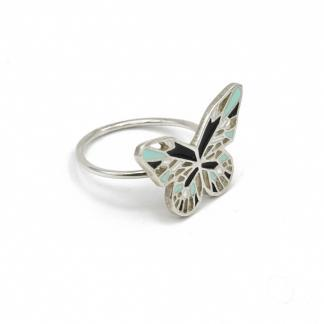 silver butterfly ring black and mint