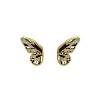 butterfly wings earrings gold black mint