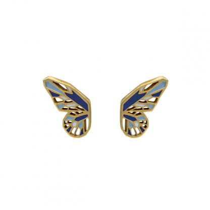 butterfly wings earrings gold cobalt blue