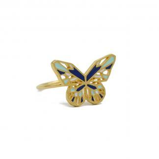 butterfly ring gold cobalt blue mint green