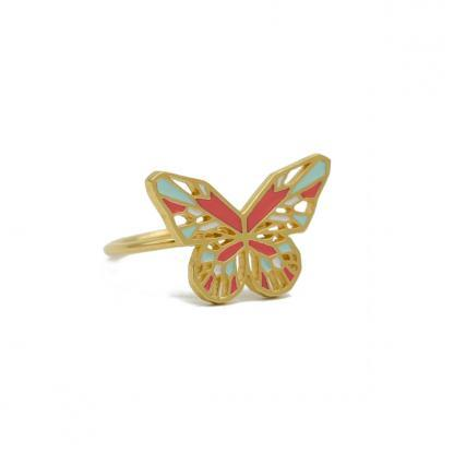 butterfly ring gold coral and mint green
