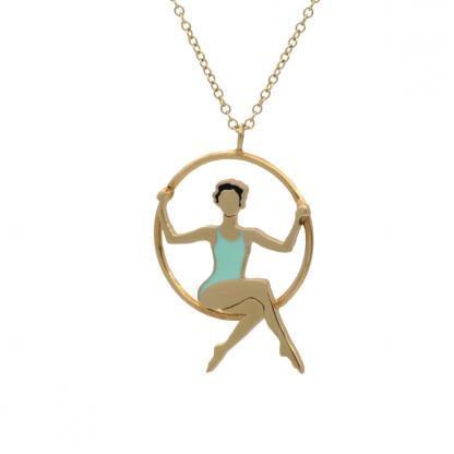 brunette lyra acrobat with mint leotard necklace gold