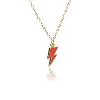 mini lightning bolt necklace gold