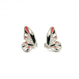 Butterfly stud earrings silver black and coral