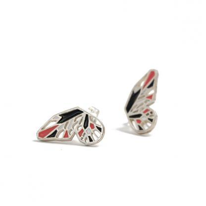 Monarch Butterfly wings earrings silver