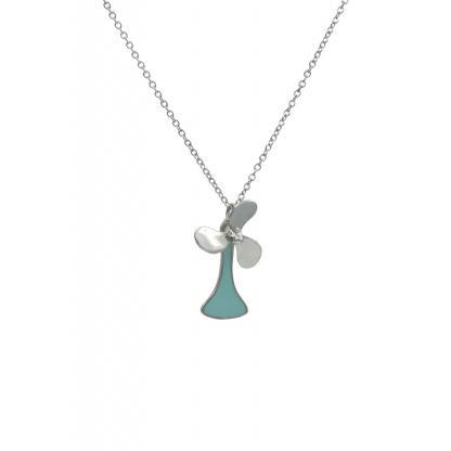 Propeller necklace silver mint