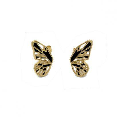 Butterfly wings earring posts in gold vermeil and black enamel