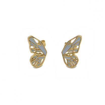 Butterfly wings earring studs in gold and grey enamel