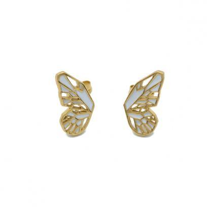 Butterfly earrings in gold and white