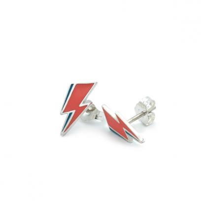 Mini lightning bolt earring studs in sterling silver inspired by Bowie