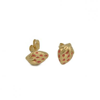 Gold strawberry studs with coral seeds