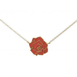 Rose necklace coral enamel