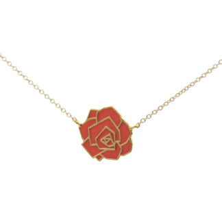 geometric rose necklace gold coral