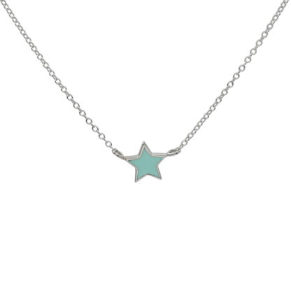 silver star necklace with mint enamel