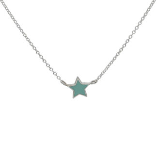 Star necklace silver mint enamel