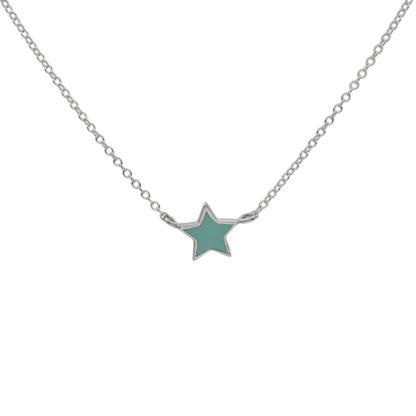 Star necklace silver mint enamel