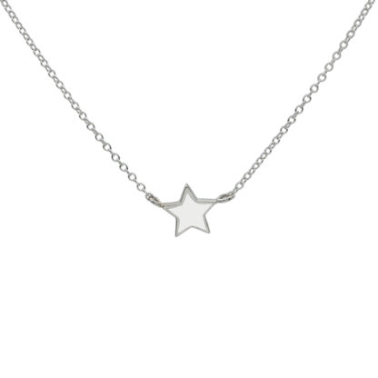 Star necklace silver white enamel