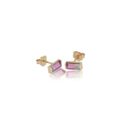 bicolor tourmaline post earrings in 14k gold