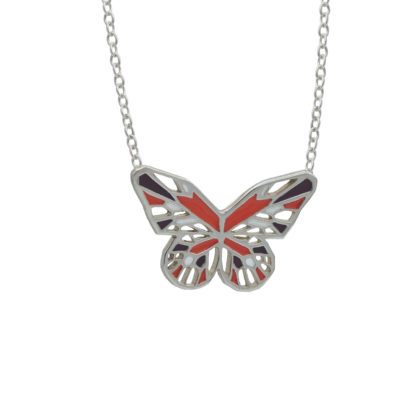monarch butterfly necklace in sterling silver with geometric wing details