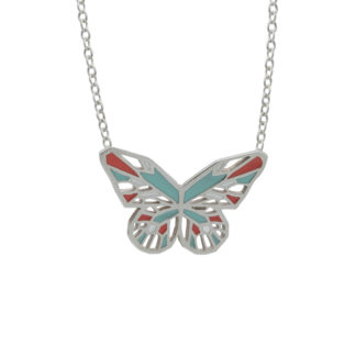 silver butterfly necklace with mint green and coral enamel