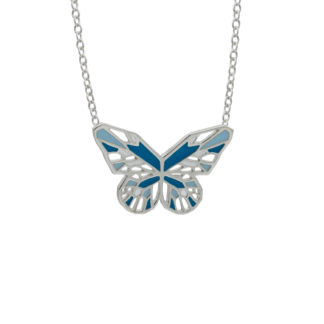 silver blue butterfly necklace with turquoise and pastel blue enamel
