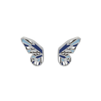 butterfly wings silver earrings with cobalt blue and pastel blue enamel