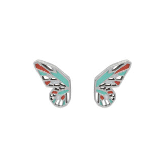 butterfly wings earrings in silver with mint and coral enamel