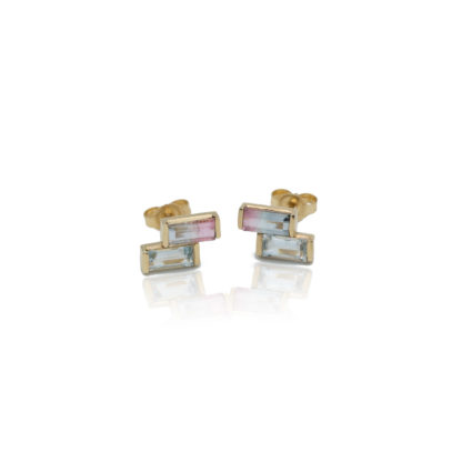 aquamarine and bicolor tourmaline solid gold earrings