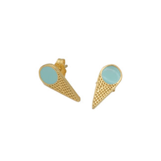 ice cream cone earrings in gold and mint