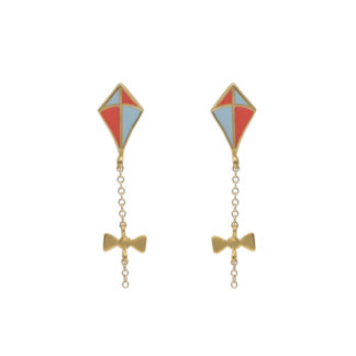 kite earrings gold with coral and pastel blue enamel