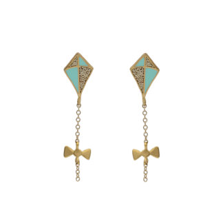 kite earrings gold in gold glitter and mint enamel