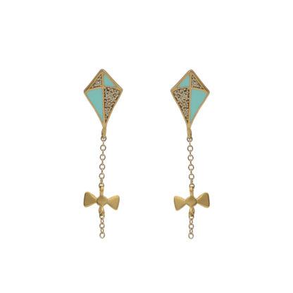 kite earrings gold in gold glitter and mint enamel