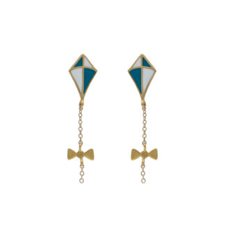 kite earrings gold in white and teal enamel