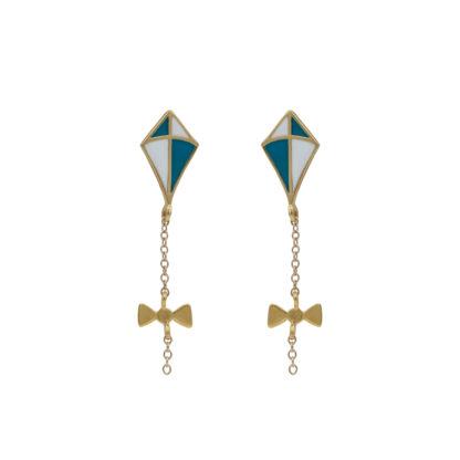 kite earrings gold in white and teal enamel