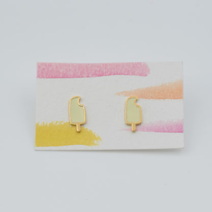 lemon yellow popsicle studs on earrings card