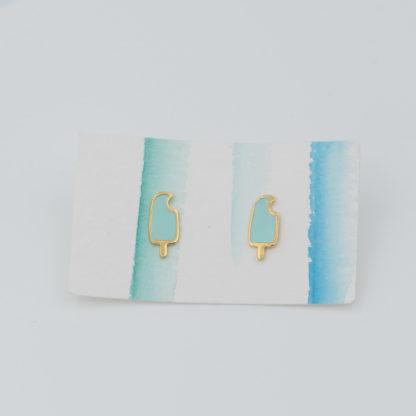 mint green popsicle studs on earrings card